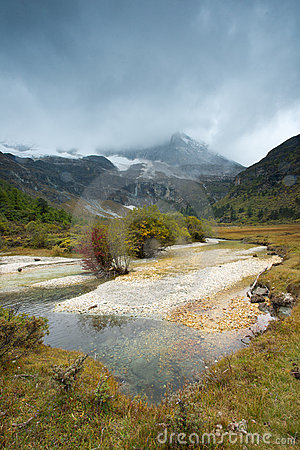 Plateau river landscape in autumn