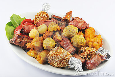 Meat grill with garnish