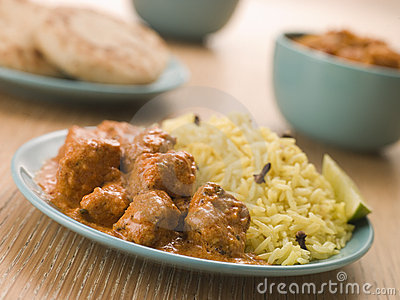 Plated Chicken Korma with Pilau Rice
