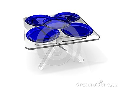 Plates on glass table