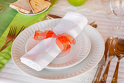 Plates with napkin