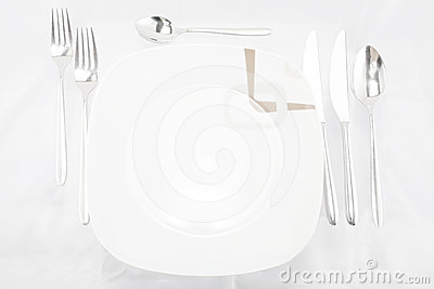 Plates with a silver fork