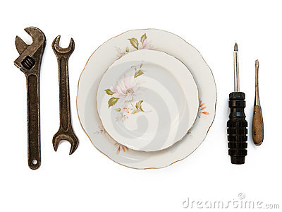 Plates and tools on white