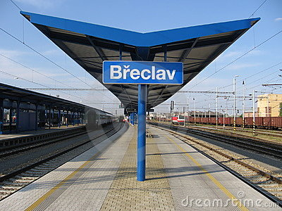 Platform in Czech border station Břeclav