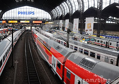 Platforms in the main trainstation of Hamburg Editorial Stock Photo
