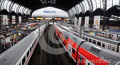 Platforms in the main trainstation of Hamburg Editorial Photography