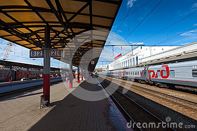 Platforms in Moskovsky Rail Terminal Editorial Photo