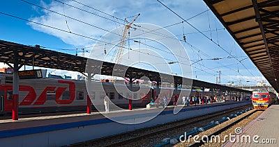 Platforms in Moskovsky Rail Terminal Editorial Photo