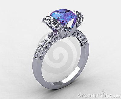Platinum diamond lilac amethyst bridal ring