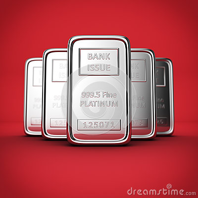 Platinum ingots on red