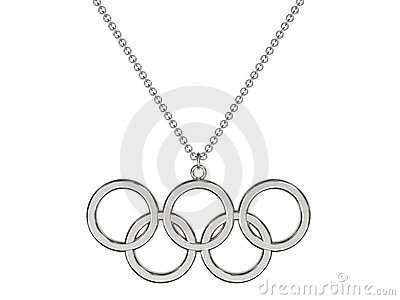 Platinum or silver olympic rings pendant on chain Editorial Stock Photo