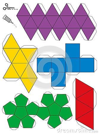 Paper model template of the five platonic solids, to make a three ...