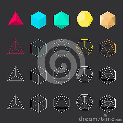 Free Platonic Solids, Vector Set Stock Photography - 69333602