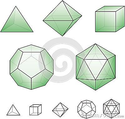 Platoniczne bryły z zielonymi powierzchniami
