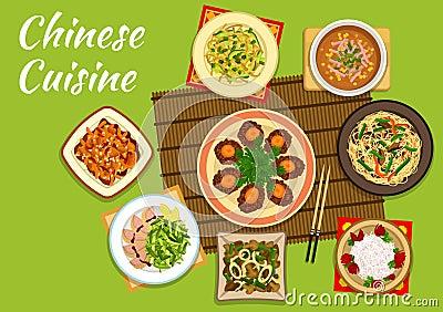 plats chinois nationaux de cuisine pour la conception de menu illustration de vecteur image. Black Bedroom Furniture Sets. Home Design Ideas