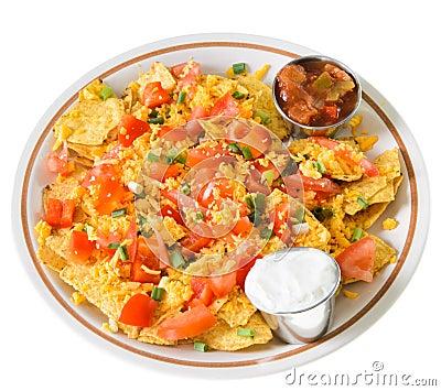 Platte von Nachos mit Käse