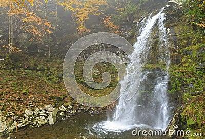 Plattekill Falls in Misty Ravine