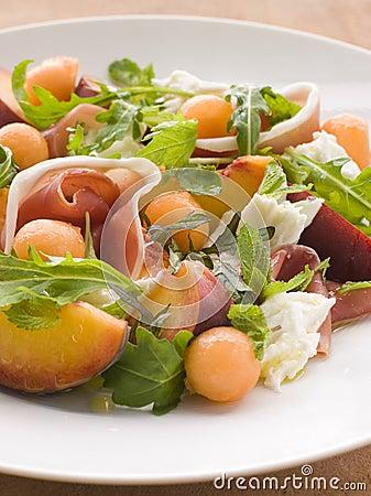 Platter of Cantaloupe Melon Parma Ham Mozzarella