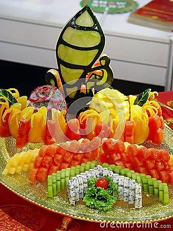 Platter of cut tropical fruits
