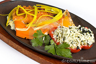 Platter of salmon and rice