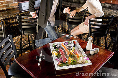 Platter of sushi on table in Japanese restaurant