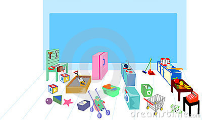 Play area showing washing