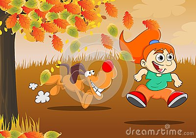 Play during the autumn Stock Photo