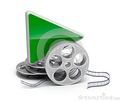 Play button and movie reel