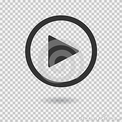 Play button with shadow on transparent background Vector Illustration