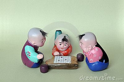 Play chess clay figurine