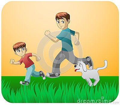 Play with dad and the dog