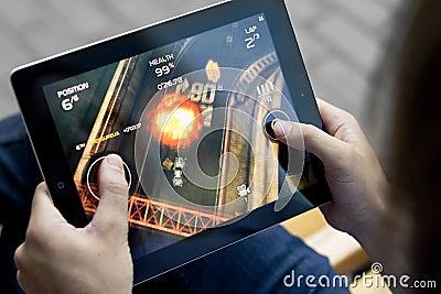 Play Death Rally on Apple Ipad2 Editorial Photo