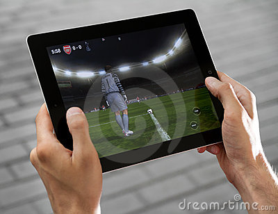 Play FIFA football on Apple Ipad2 Editorial Stock Image