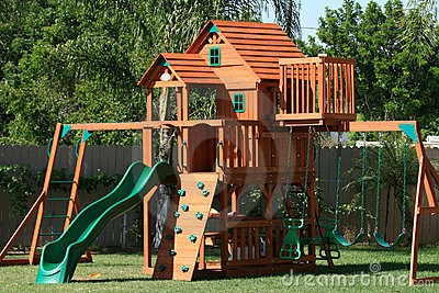 Play house swings and slide
