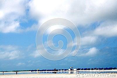 Playa con filas de las sillas de la sombra