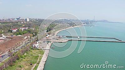 Playa de la ciudad Mariupol Ucrania metrajes