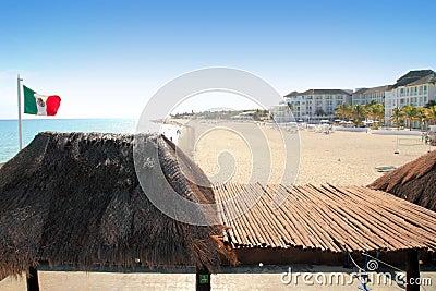 Playa del Carmen beach Mexico Flag Mayan Riviera