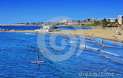 Playa del Ingles coastline in Maspalomas, Gran Canaria, Spain Editorial Photography