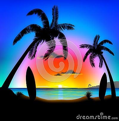 Playa tropical en la ilustración que practica surf de la puesta del sol