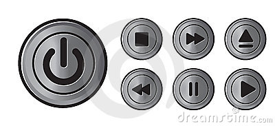 Player icons metall buttons vector