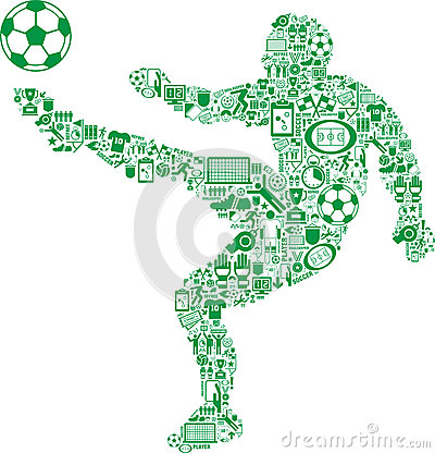Player kicking soccer ball