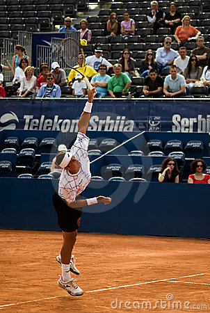 Player Lopez served a ball Editorial Stock Photo