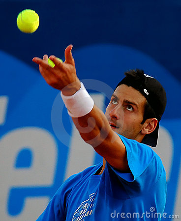 Player Novak Djokovic served a ball Editorial Stock Image