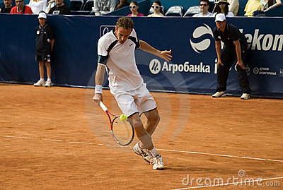 Player Volandri return a ball-1 Editorial Stock Photo