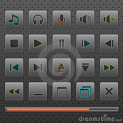 Player web buttons and music controls icons, set.