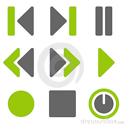 Free Player Web Icons, Green Grey Solid Icons Royalty Free Stock Images - 17881529