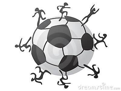 Players around the soccer