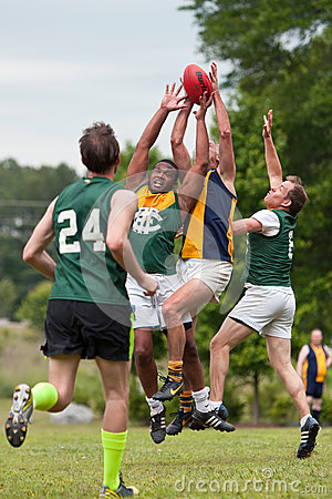 Players Battle For Ball In Australian Rules Football Game Editorial Stock Photo