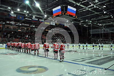 Players from both teams are listening anthem Editorial Stock Image