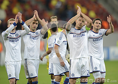 Players of Chelsea applauding Editorial Image